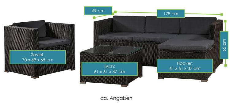 Polyrattan lounge sessel schwarz  Polyrattan Lounge / Sitzgarnitur Punta Cana L schwarz mit Bezügen in ...