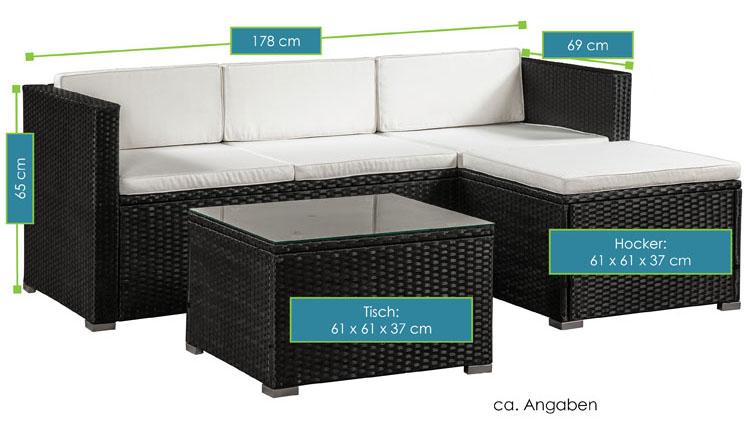 Abmessungsbild Polyrattan Lounge Punta Cana M schwarz mit cremeweißen Bezügen von ArtLife - inklusive Sofa, Hocker, Tisch mit Glasplatte sowie Sitz- und Rückenauflagen