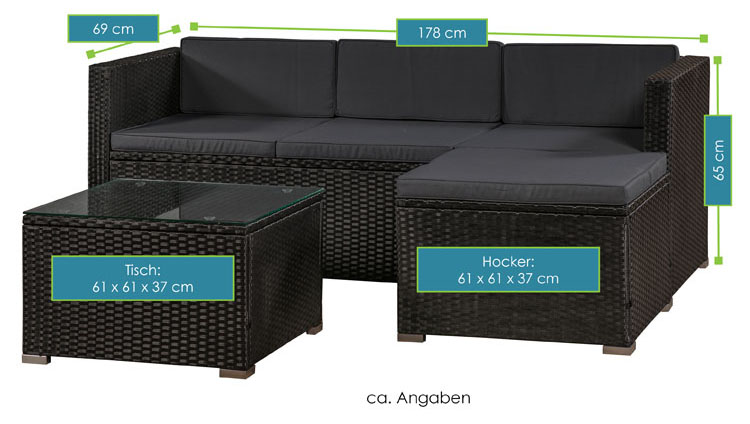 Abmessungsbild Polyrattan Lounge Punta Cana M schwarz mit dunkelgrauen Bezügen von ArtLife - inklusive Sofa, Hocker, Tisch mit Glasplatte sowie Sitz- und Rückenauflagen