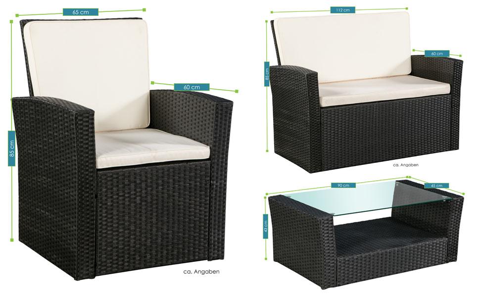 Abmessungen der Polyrattan Sitzgruppe Salvador schwarz mit cremeweißen Bezügen von ArtLife - inklusive Sofa, 2 Sesseln und 1 Tisch mit Glasplatte