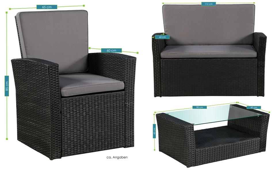 Abmessungen der Polyrattan Sitzgruppe Salvador schwarz mit dunkelgrauen Bezügen von ArtLife - inklusive Sofa, 2 Sesseln und 1 Tisch mit Glasplatte