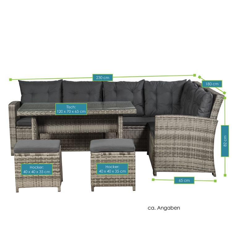 Abmessungen der Polyrattan Lounge Santa Catalina grau-beige mit dunkelgrauen Bezügen von ArtLife - inklusive Ecksofa, 2 Hockern und 1 Tisch mit Glasplatte
