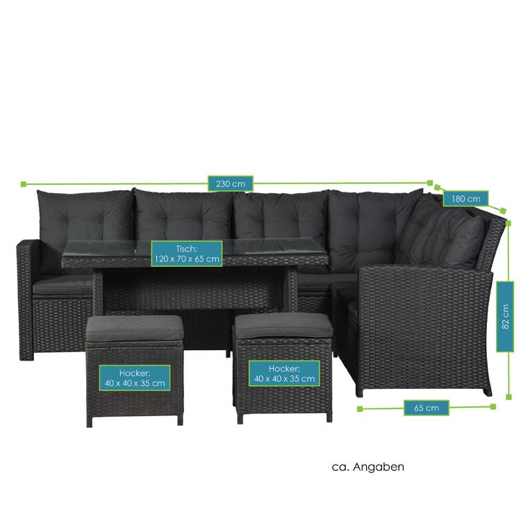 Abmessungen der Polyrattan Lounge Santa Catalina schwarz mit dunkelgrauen Bezügen von ArtLife - inklusive Ecksofa, 2 Hockern und 1 Tisch mit Glasplatte