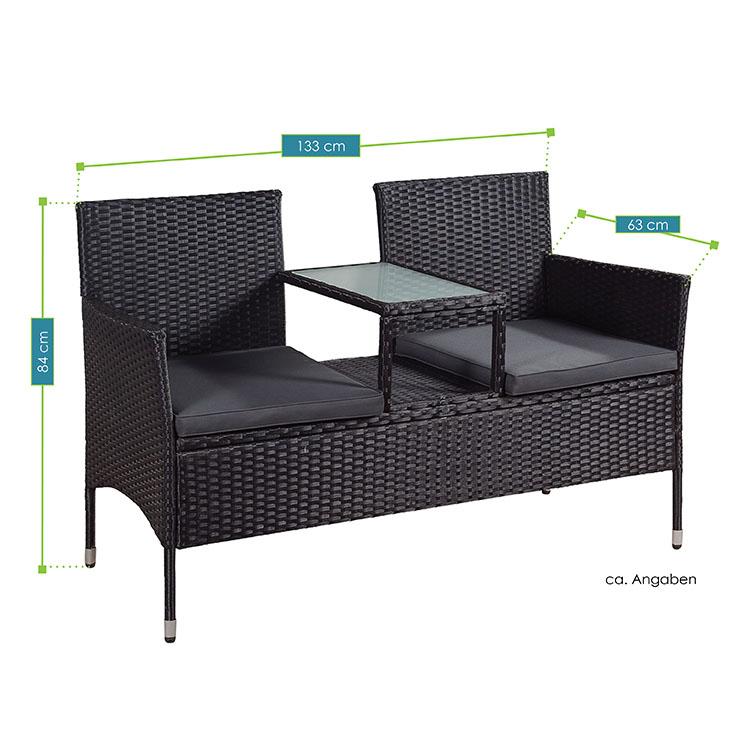 Abmessungsbild Polyrattan Gartenmöbel Sitzgruppe Monaco schwarz-dunkelgrau – Gartengarnitur inklusive Tisch mit Glasplatte