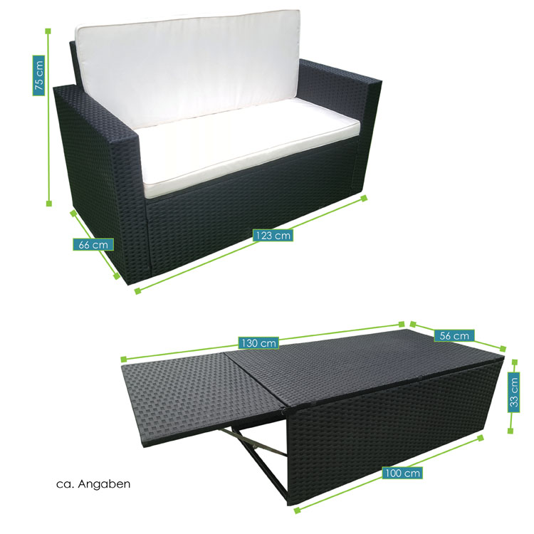 polyrattan gartenm bel relax lounge f r 2 personen juskys. Black Bedroom Furniture Sets. Home Design Ideas