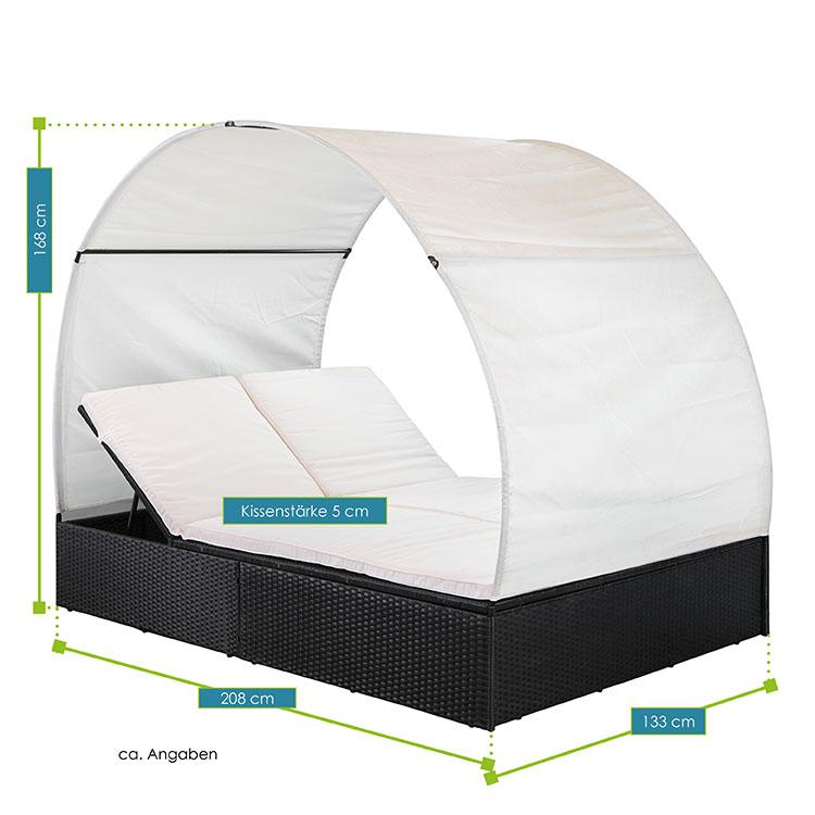 Polyrattan Gartenmöbel Sonnenliege Lounge Ibiza Xl Mit Dach Für 2