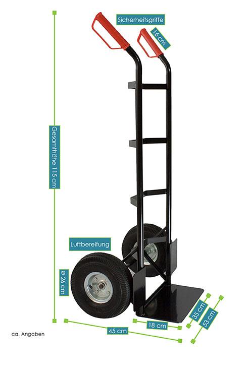 Sackkare Basic schwarz mit max. Tragkraft von 200 kg – Gesamtmaße: 45 x 53 x 115 cm