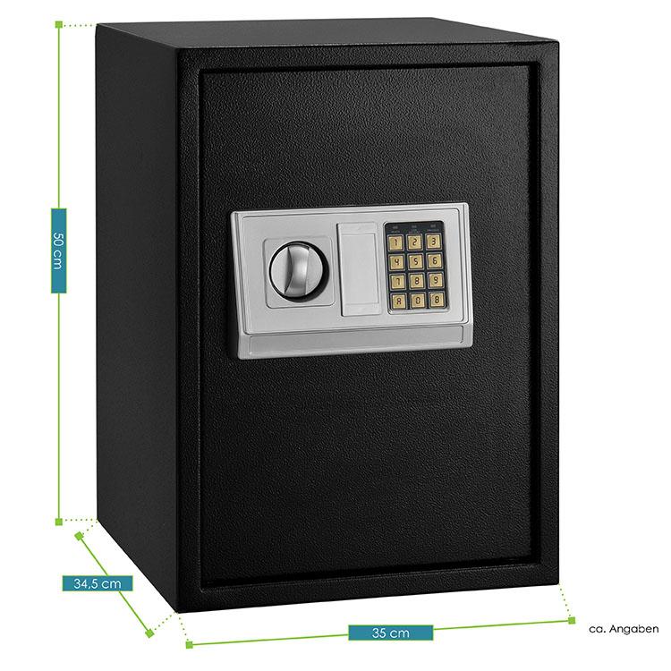 Abmessungen vom Safe Secure-L - Tresor mit elektronischem Zahlenschloss, Schlüsseln für die Notöffnung & stabilem Stahlkorpus - inklusive Batterien & Befestigungsmaterial