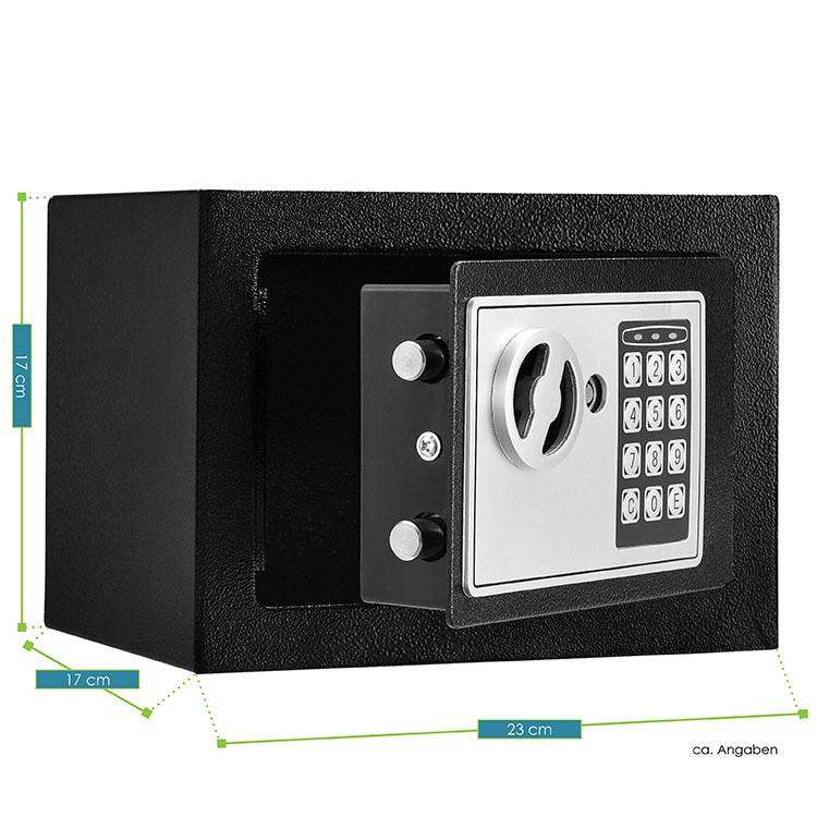 Abmessungen vom Safe Secure-S – Mini-Tresor mit elektronischem Zahlenschloss, Schlüsseln für die manuelle Notöffnung & stabilem Stahlkorpus - inklusive Batterien & Befestigungsmaterial für die Montage an Wänden und Fußböden