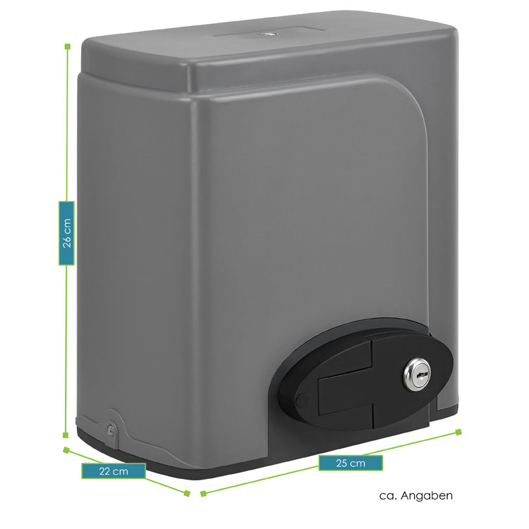 Abmessungen vom elektrischen Schiebetorantrieb 600 kg von Juskys mit 2 Fernbedienungen