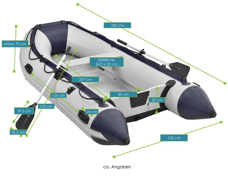 Abmessungsbild aufblasbares Schlauchboot mit Aluböden
