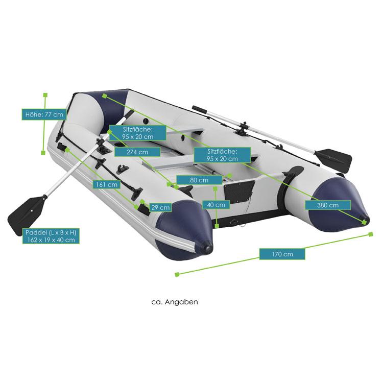 Abmessungen Des Aufblasbaren Schlauchboots U2013 Grau U2013 Mit Aluminiumböden Von  ArtSport