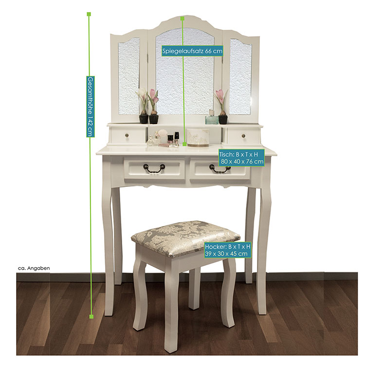 schminktisch hocker kosmetiktisch vintage frisierkommode mit hocker weiss ebay. Black Bedroom Furniture Sets. Home Design Ideas