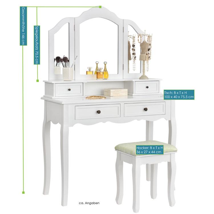 Schminktisch fiona wei mit spiegel und hocker juskys for Frisiertisch selber bauen