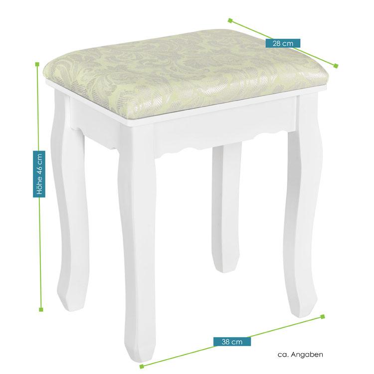 schminktisch hocker in wei juskys. Black Bedroom Furniture Sets. Home Design Ideas