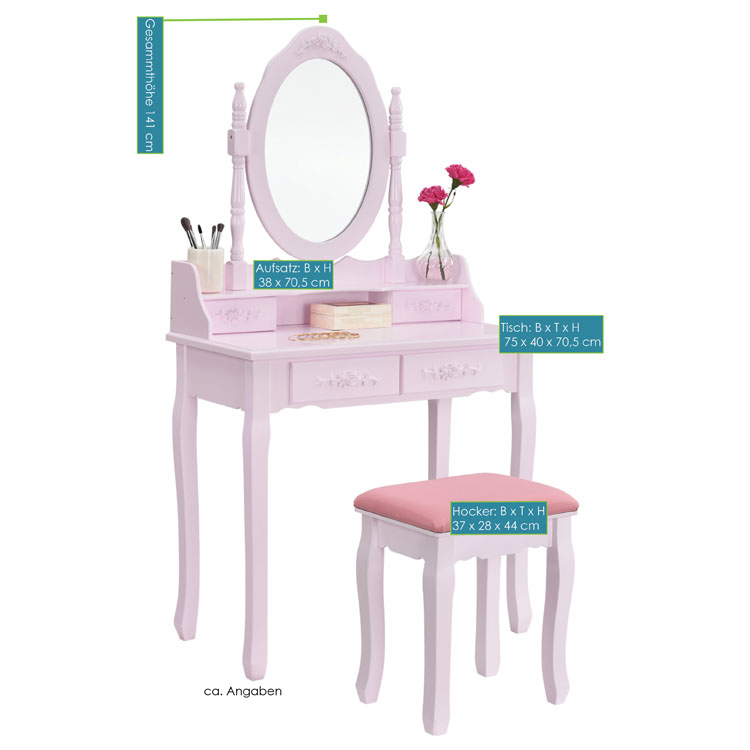 schminktisch mira rosa pink mit spiegel und hocker juskys. Black Bedroom Furniture Sets. Home Design Ideas