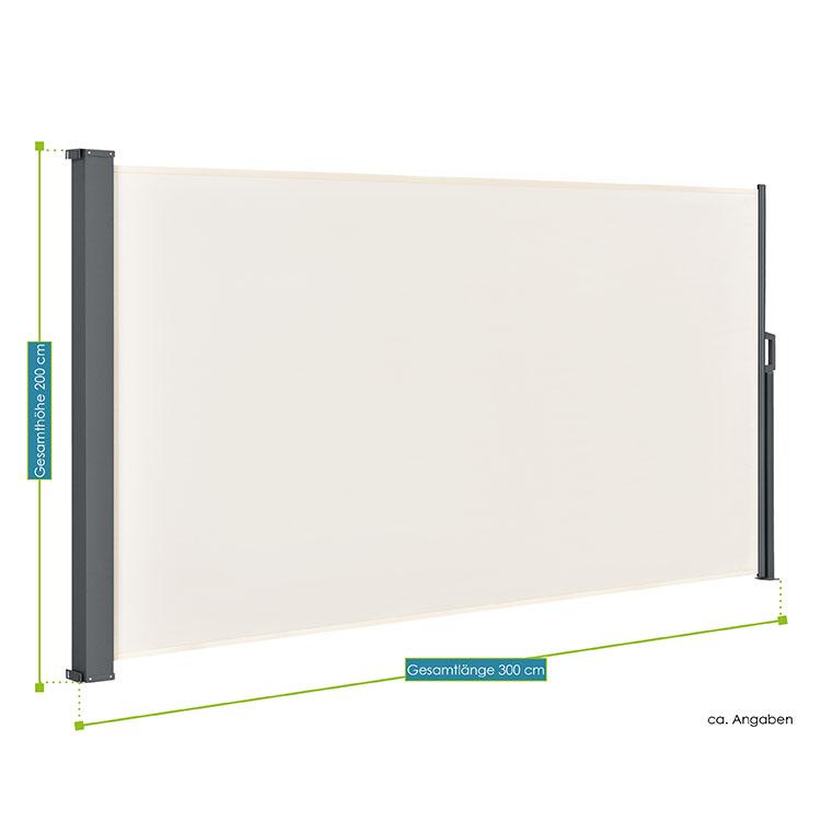 Abmessungen der Seitenmarkise Dubai in beige 200 x 300 cm von ArtLife