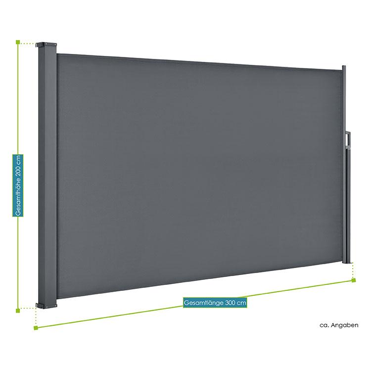 Abmessungen der Seitenmarkise Dubai in dunkelgrau 160 x 300 cm von ArtLife