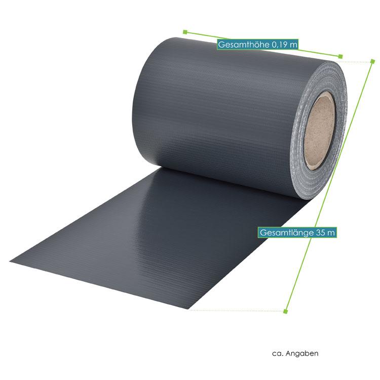 Abmessungen des PVC-Sichtschutzstreifens – anthrazit – mit 30 Befestigungsklemmen von ArtLife