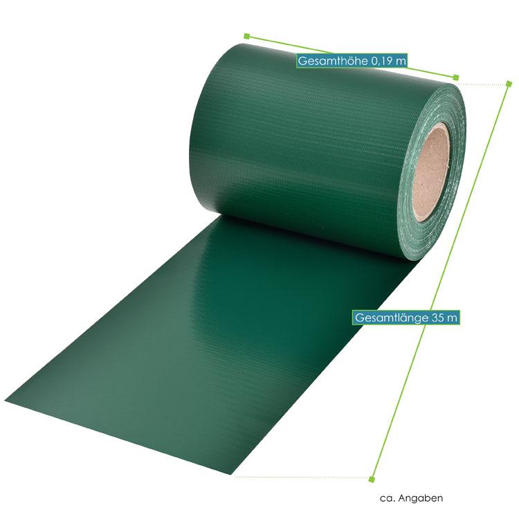 Abmessungen des PVC-Sichtschutzstreifens – grün – mit 30 Befestigungsklemmen von ArtLife