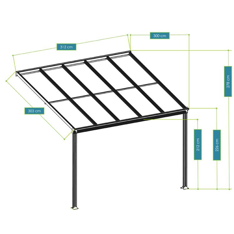 Abmessungen vom Terrassendach Borneo aus Aluminium – 3 x 3 - mit weißem Rahmen und durchsichtigen Doppelstegplatten