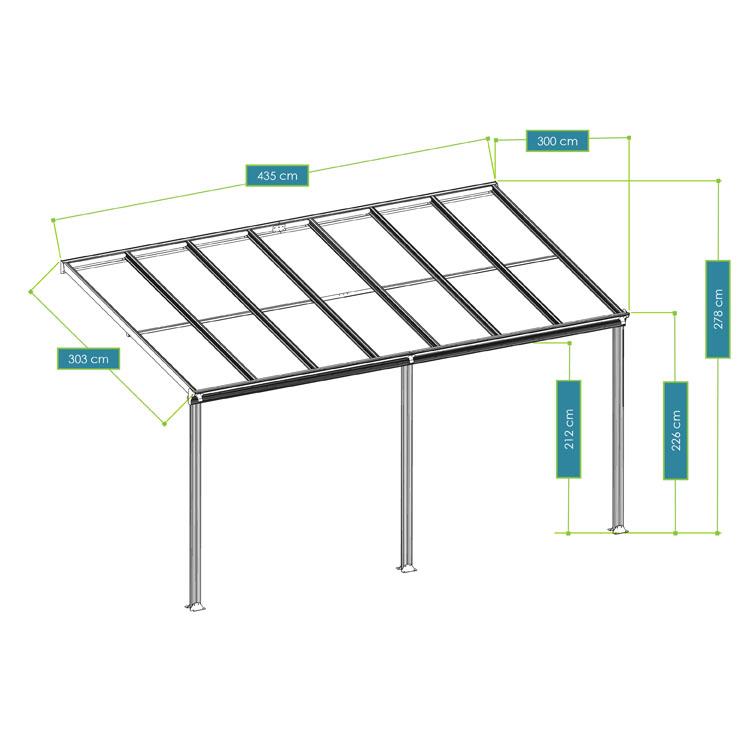 Abmessungen vom Terrassendach Borneo aus Aluminium – 4 x 3 - mit dunkelgrauem Rahmen dunkelgrauen Doppelstegplatten