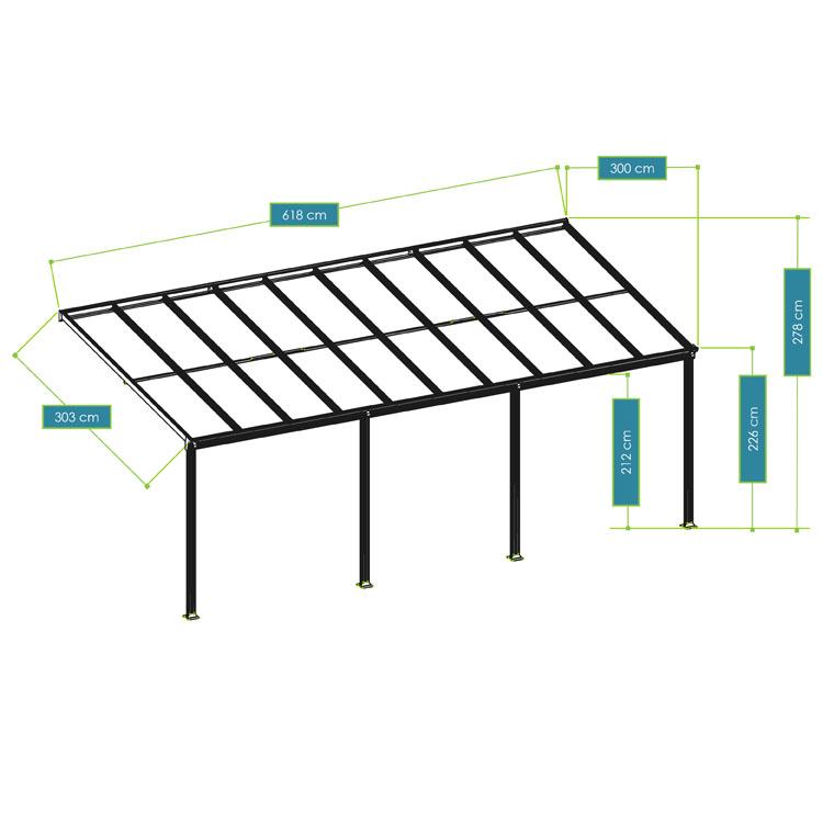 Abmessungen vom Terrassendach Borneo aus Aluminium – 6 x 3 - mit weißem Rahmen und durchsichtigen Doppelstegplatten