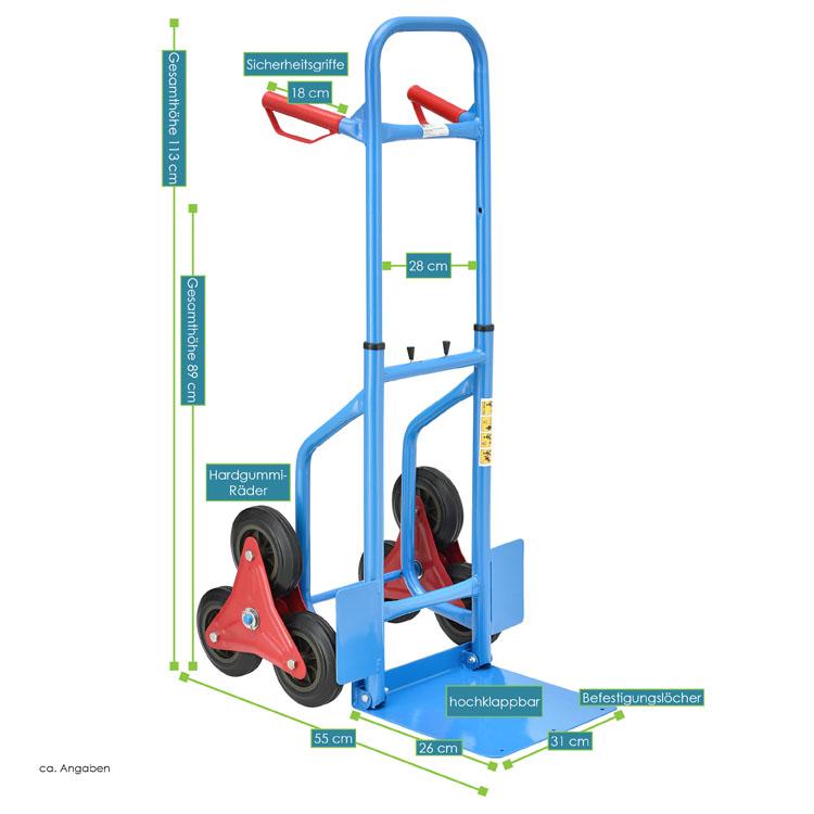 Abmessungen Höhenverstellbare Treppensackkarre bis max. 200 kg mit Sternrädern und klappbarer Ladeschaufel in blau-rot