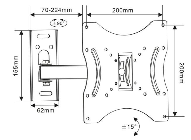 Abmessungen von der TV-Wandhalterung für TV-Geräte mit einer Bildschirmdiagonale von 17 – 42 Zoll - bis 25kg belastbar - neig- & schwenkbar