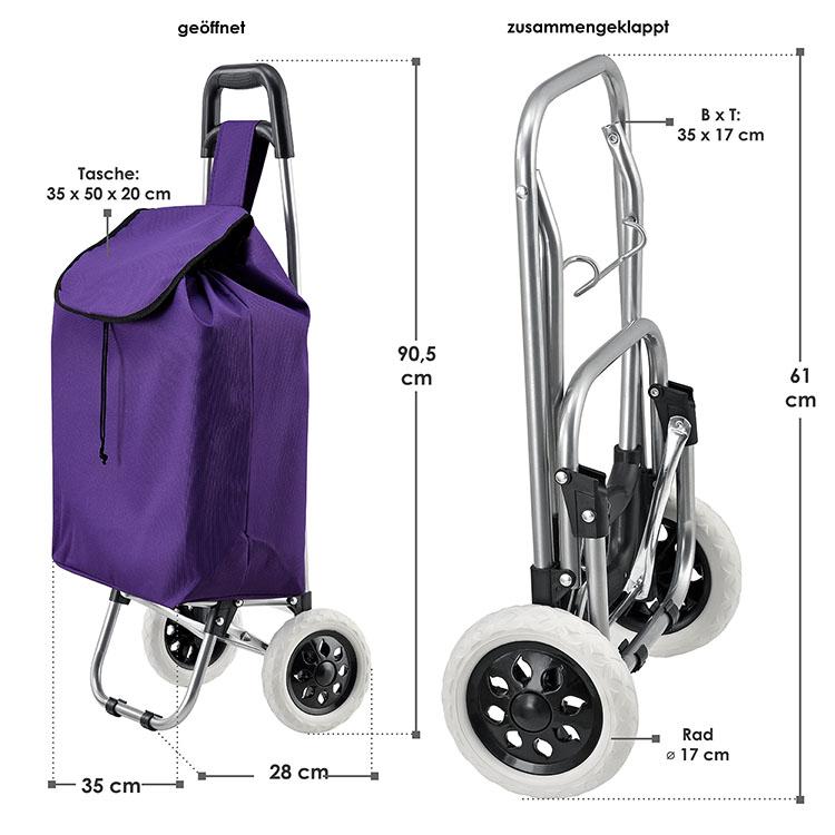 Abmessungen vom klappbaren Einkaufstrolley Meran mit großen Rädern und abnehmbarer Tasche lila
