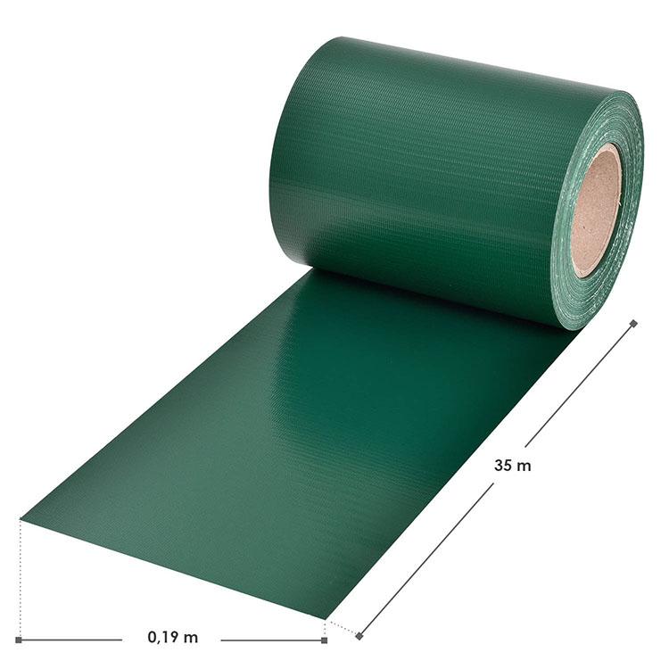 Abmessungen des PVC-Sichtschutzstreifens – grün – mit 30 Befestigungsklemmen