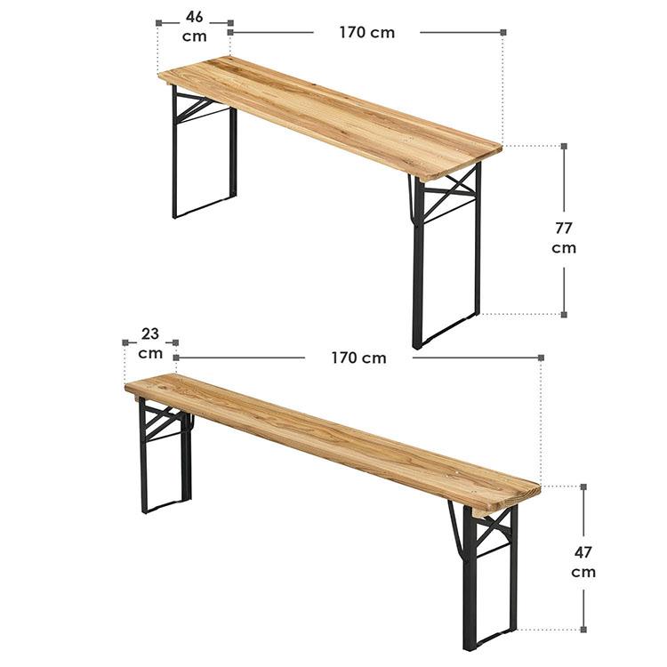 Abmessungen Bierzeltgarnitur Bichl 3-teilig Holz