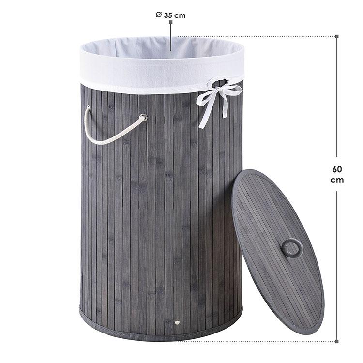 Abmessungen Bambus Wäschekorb Curly-Round 55 L grau