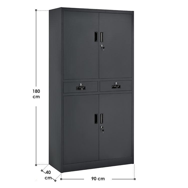 Abmessungen Metall Aktenschrank Office 180x90 cm Grau – mit Schubladen
