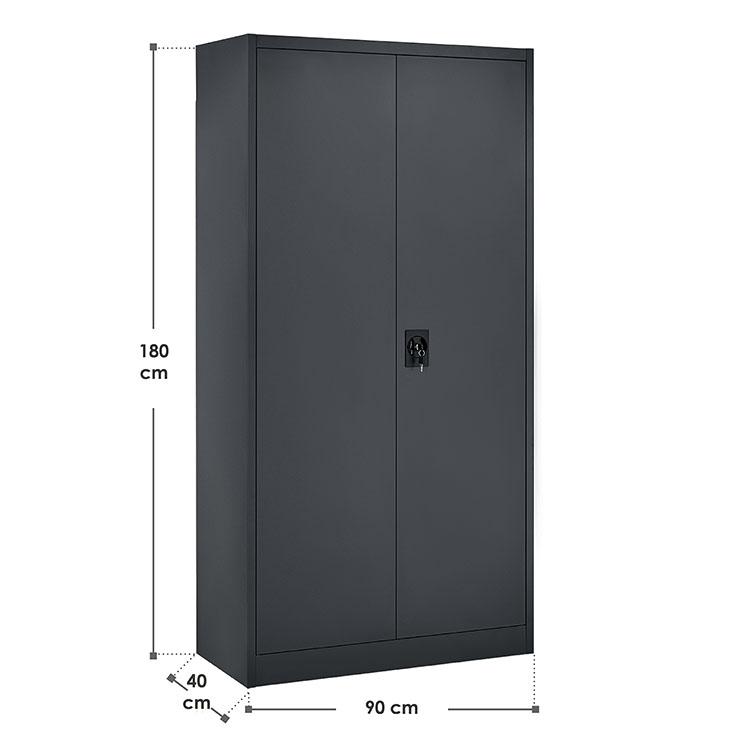 Abmessungen vom Aktenschrank Office anthrazit mit 2 Türen und 4 Einlegeböden aus Metall