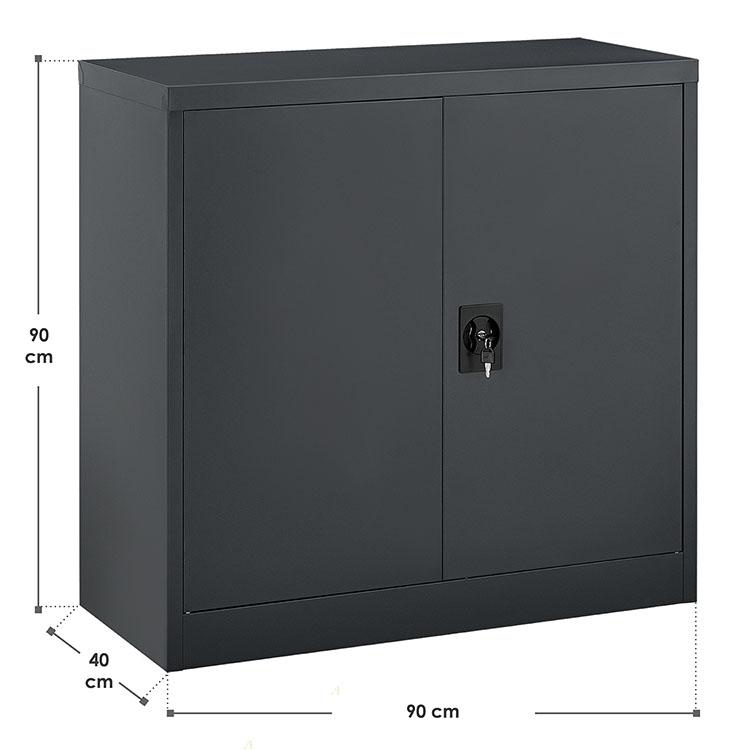 Abmessungen vom halbhohen Aktenschrank Office anthrazit mit 2 Türen und 2 Einlegeböden aus Metall