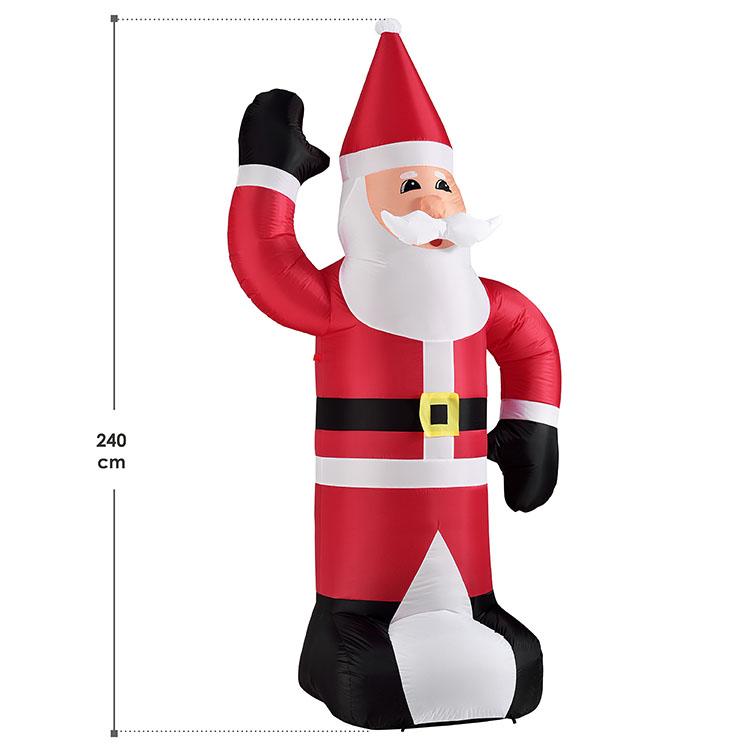 Abmessungen vom aufblasbaren un beleuchteten XXL Weihnachtsmann mit 240 cm Größe