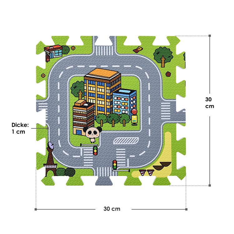 Abmessungen Puzzlematte Jascha 9-teilig Strassen