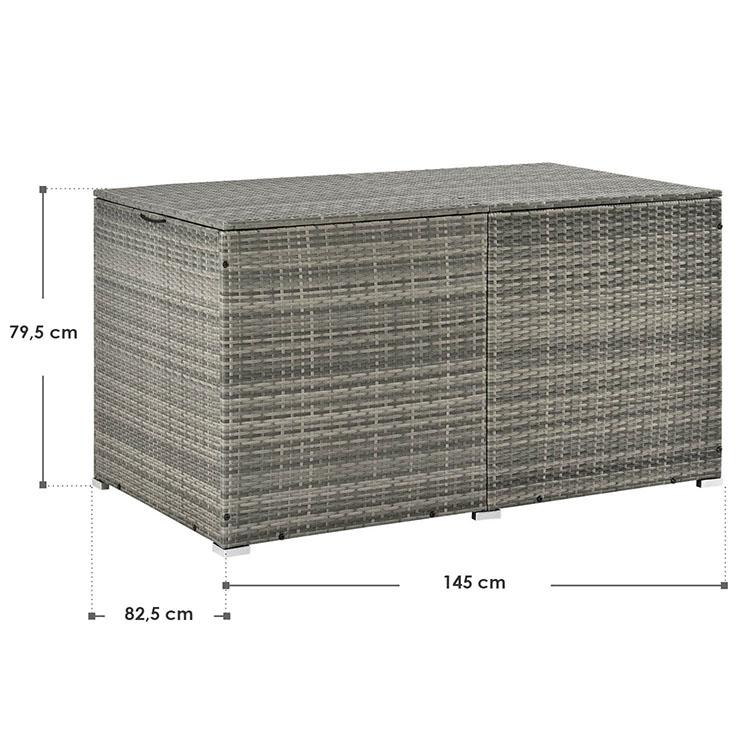 Abmessungen Polyrattan Auflagenbox Ikaria 950 Liter grau-meliert