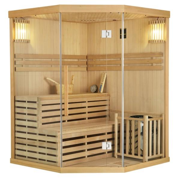 Traditionelle Saunakabine / Finnische Sauna Espoo150 Premium - 150 x 150 cm 6 kW