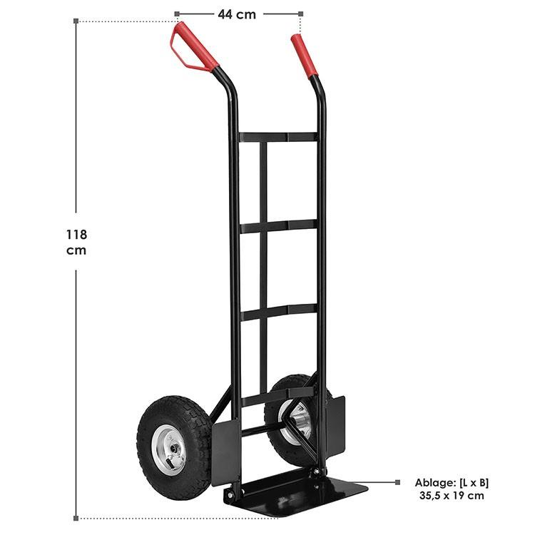 Abmessungen von der klappbaren Sackkarre Basic 100 kg mit luftbereiften Rädern und roten Griffen
