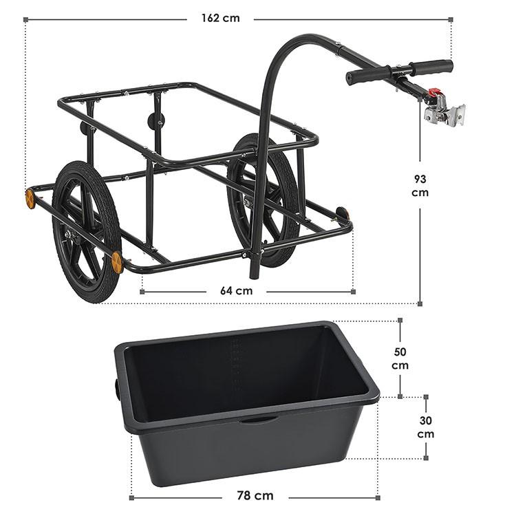 Fahrradanhänger für den Transport schwerer Lasten auf dem Fahrrad - maximale Zuladung von 80 kg, maximales Ladevolumen: 90 Liter, Gesamtmaße ohne Deichsel: 85 x 71 x 48 cm; Gesamtmaße mit ausgestreckter Deichsel: 153 × 71 × 48 cm