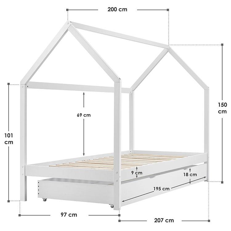 Abmessungen vom Kinderbett Lea mit Bettkasten, Dach und Lattenrost 90 × 200 cm weiß