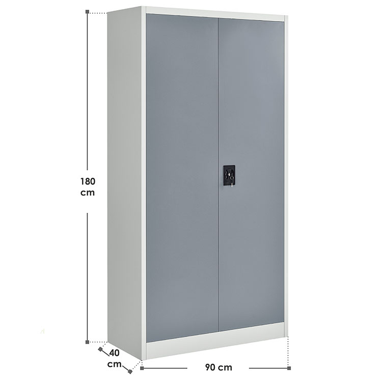 Abmessungen Metall Aktenschrank Office 180x90 cm Weiß & Grau