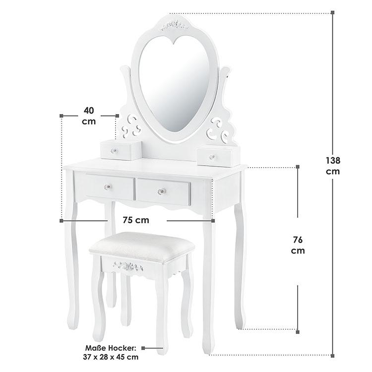 Abmessungen Schminktisch Julia mit Spiegel, Hocker und 4 Schubladen weiß
