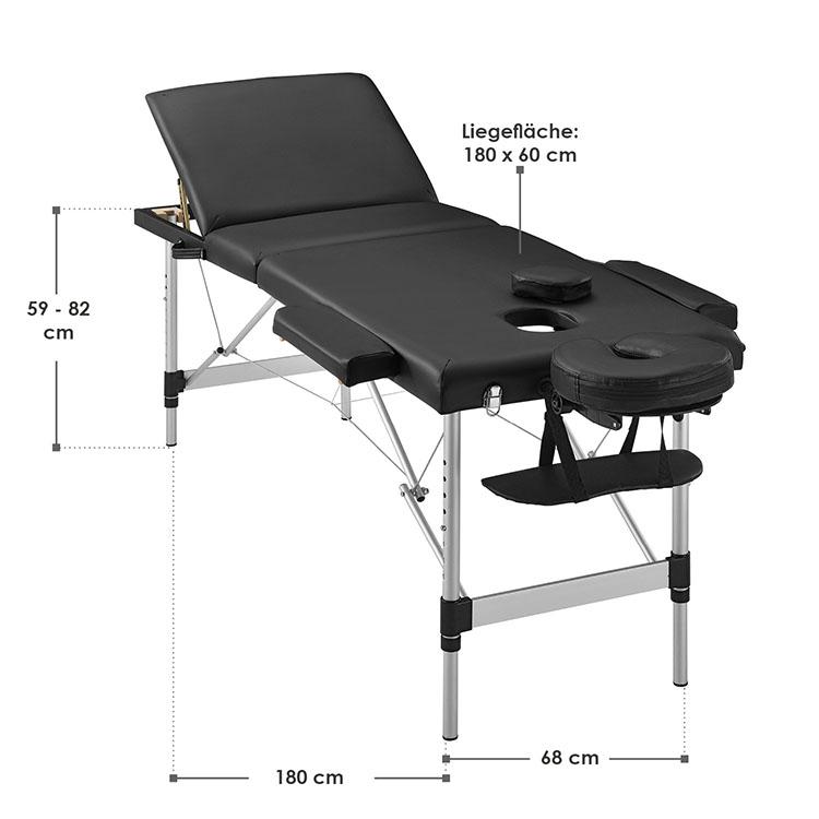 Abmessungen Massageliege Aluminiumgestell (schwarz) 180 x 60 cm