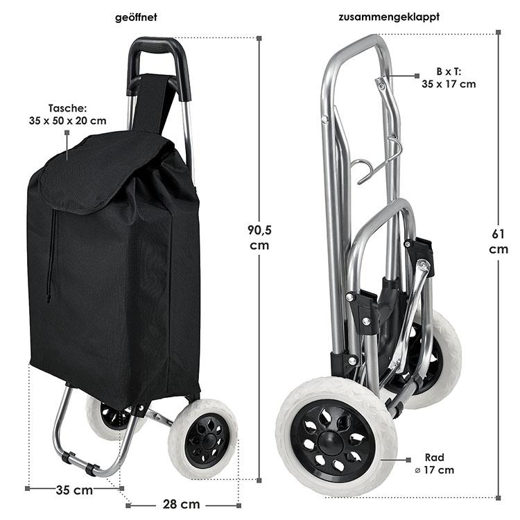Abmessungen vom klappbaren Einkaufstrolley Meran mit großen Rädern und abnehmbarer Tasche schwarz