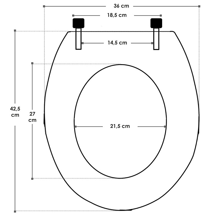 Abmessungsbild vom Juskys WC Toilettensitz Black mit Absenkautomatik aus MDF