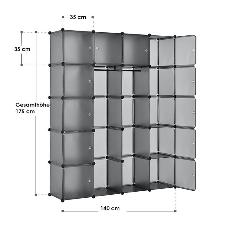 Abmessungen vom DIY-Garderobenschrank aus 20 Kunststoff-Boxen – dunkelgrau