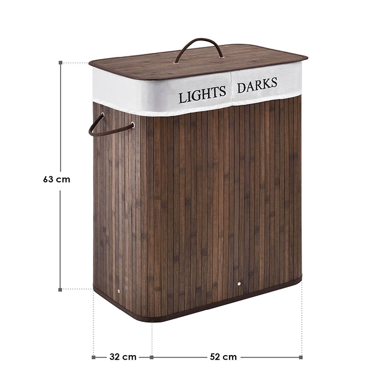 Gesamtmaße vom Bambus Wäschekorb Curly 100 Liter braun - Wäschesammler inklusive waschbarem Wäschesack und Deckel